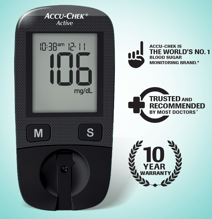 Accu-chek Active Blood Glucose Meter Kit + Free 10 Strips