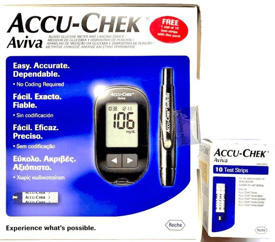 Accu-chek Aviva Glucometer 1 Kit + 10 Strips