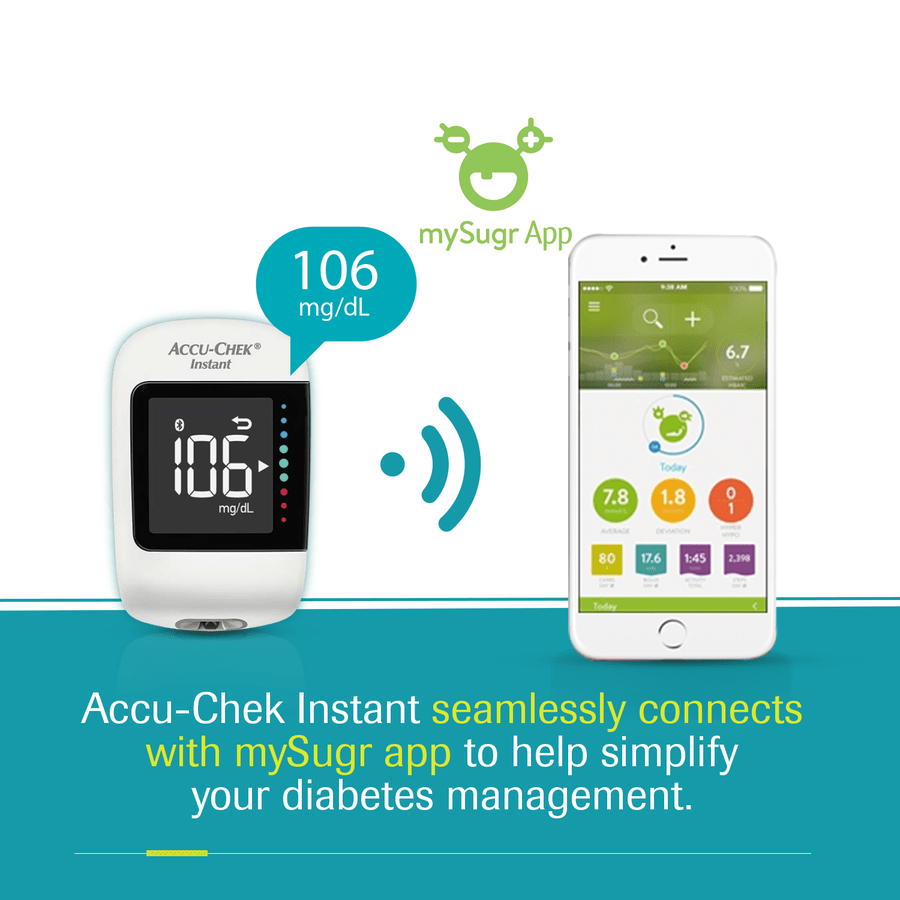 Accu-chek Instant Glucometer (with Bluetooth Technology And Mysugr Diabetes Management App)