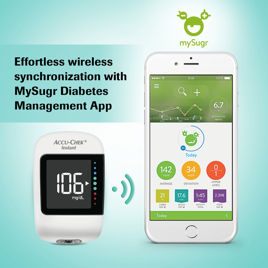 Accu-chek Instant Glucometer (with Bluetooth Technology And Mysugr Diabetes Management App) + Free 10 Strips