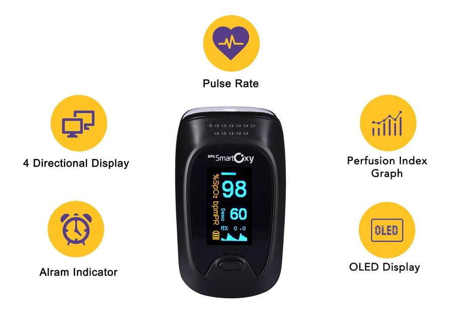 Bpl Smart Oxy Finger Tip Pulse Oximeter - Black - 1pc