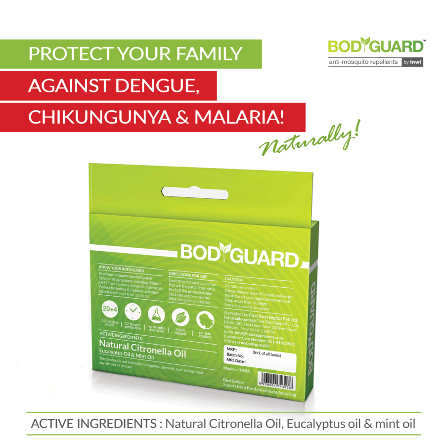 Bodyguard - Premium Natural Anti Mosquito Patches - 20 + 4 Patches