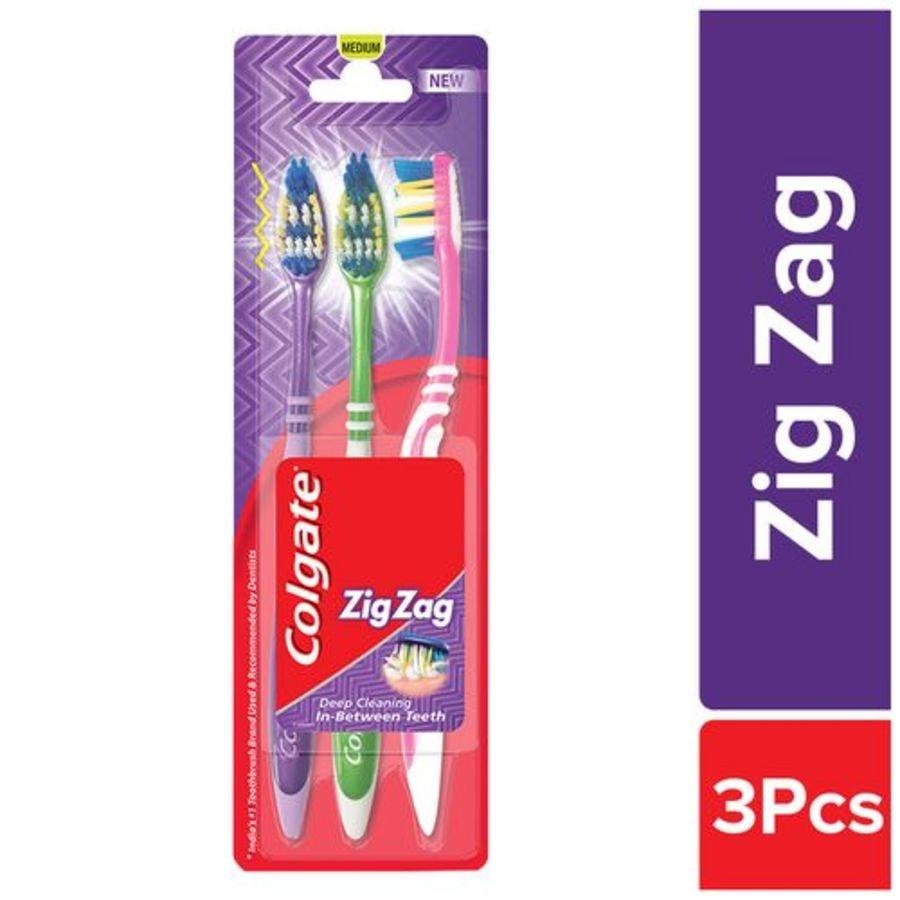 Colgate Toothbrush Zigzag - Medium Bristles - Buy 2 Get 1 Free Saver Pack
