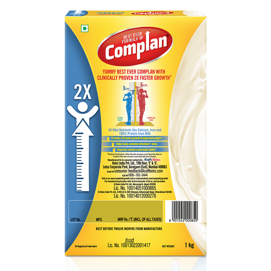 Complan Growth Drink Mix, Creamy Classic Flavour – 1 Kg Pack