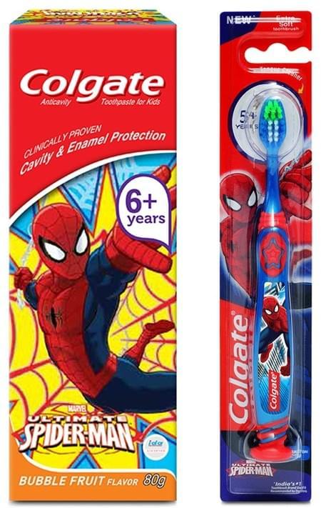 Colgate Kid's Anticavity Spiderman Toothpaste (6+ Year) With Spiderman Soft Bristles Toothbrush - 1 Pc