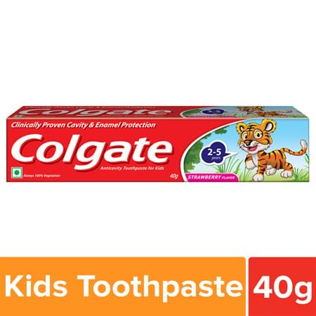 Colgate Anticavity Toothpaste For Kids (2-5 Years), Strawberry Flavour – 40g With Free Pepapeg Stickers