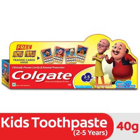 Colgate Anticavity Toothpaste For Kids (2-5 Years), Bubble Fruit Flavour – 40g (with Free Motu Patlu Trading Cards)
