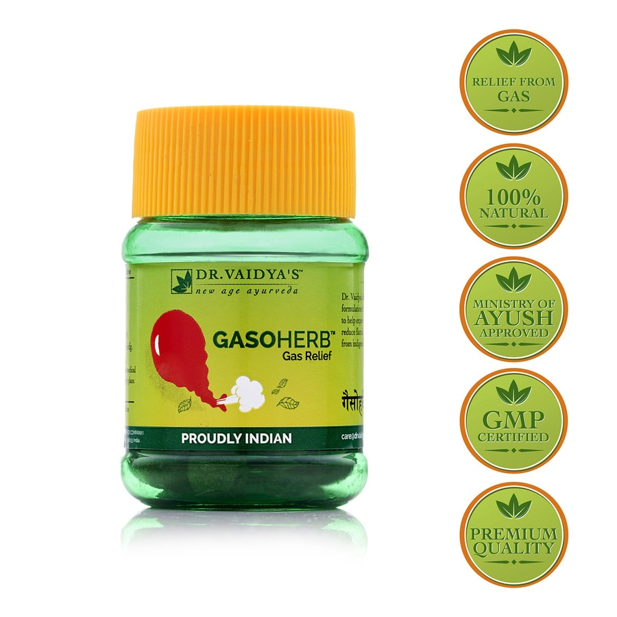 Dr. Vaidya's Gasoherb Pills Pack Of 2 (60 Pills) (medicines For Gas Problems)