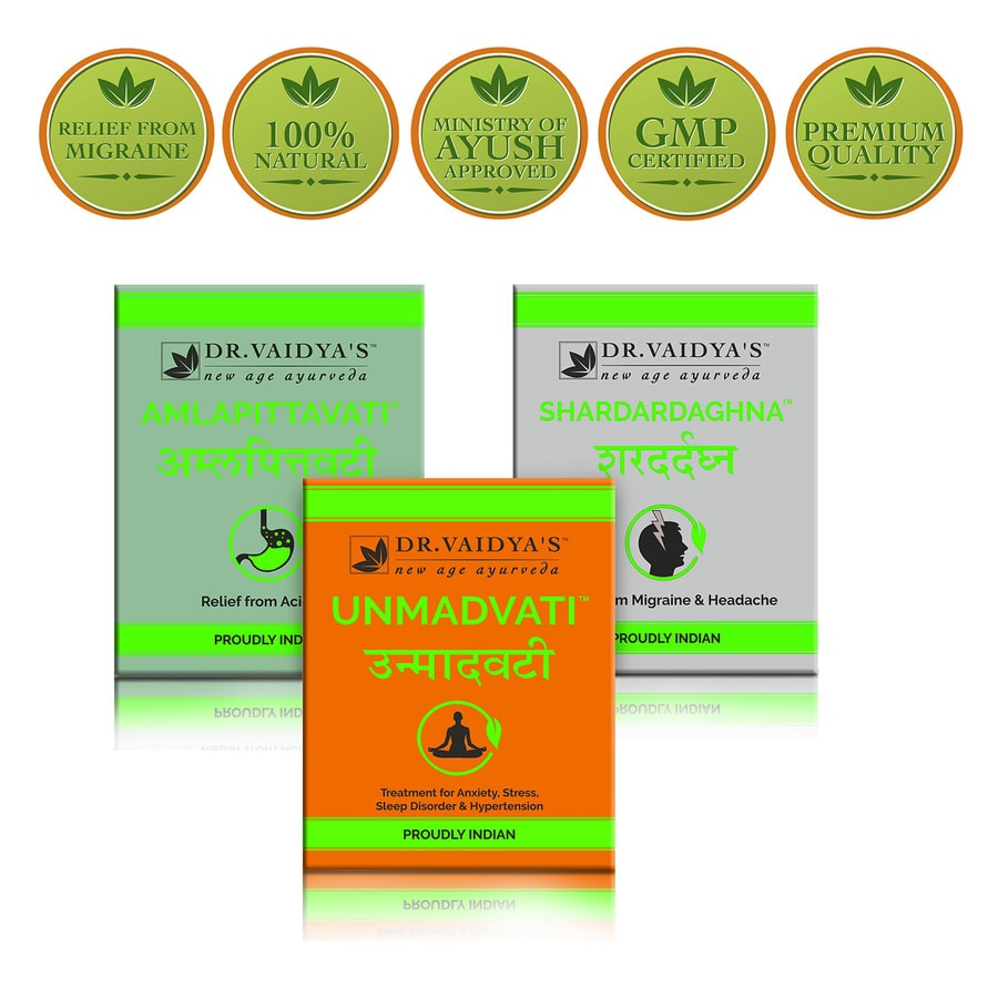 Dr. Vaidya's - Migraine Pack (unmadvati - 72 Pills, Shardardaghna - 72 Pills And Amlapittavati - 72 Pills) (medicine For Migraine)