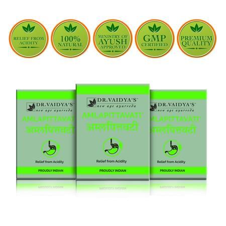 Dr. Vaidya's Amlapittavati Pills Pack Of 3 (72 Pills) (medicines For Acidity )