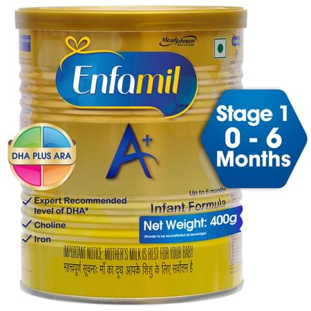 Enfamil A+ Stage 1: Infant Formula (0 To 6 Months) - 400gm Tin