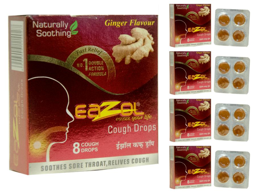 Eazol Lozenges Ginger Flavour Super Saver Pack Of 5 X 8pcs