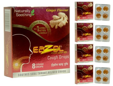 Eazol Lozenges Ginger Flavour Super Saver Pack Of 5 X 8pcs