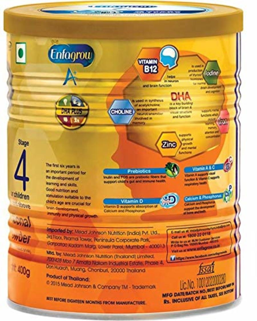 Enfagrow A+ Stage 4: Nutritional Milk Powder (2 Years And Above) Chocolate - 400gm - (buy 2 Get 1 Free) Tin