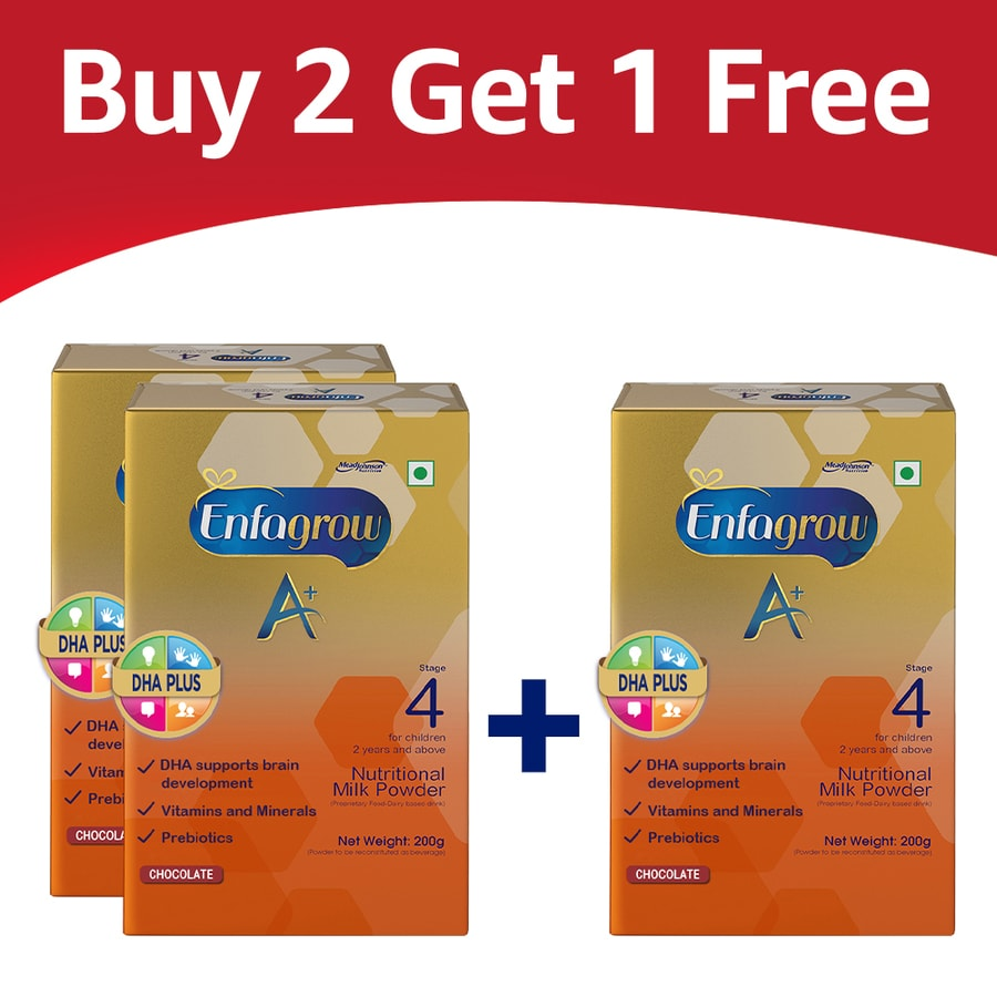 Enfagrow A+ Stage 4: Nutritional Milk Powder (2 Years And Above) Chocolate - 200gm - (buy 2 Get 1 Free) Refill