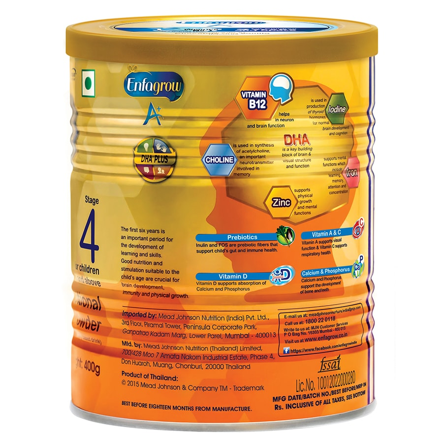Enfagrow A+ Stage 4: Nutritional Milk Powder (2 Years And Above) Vanilla - 400g Tin