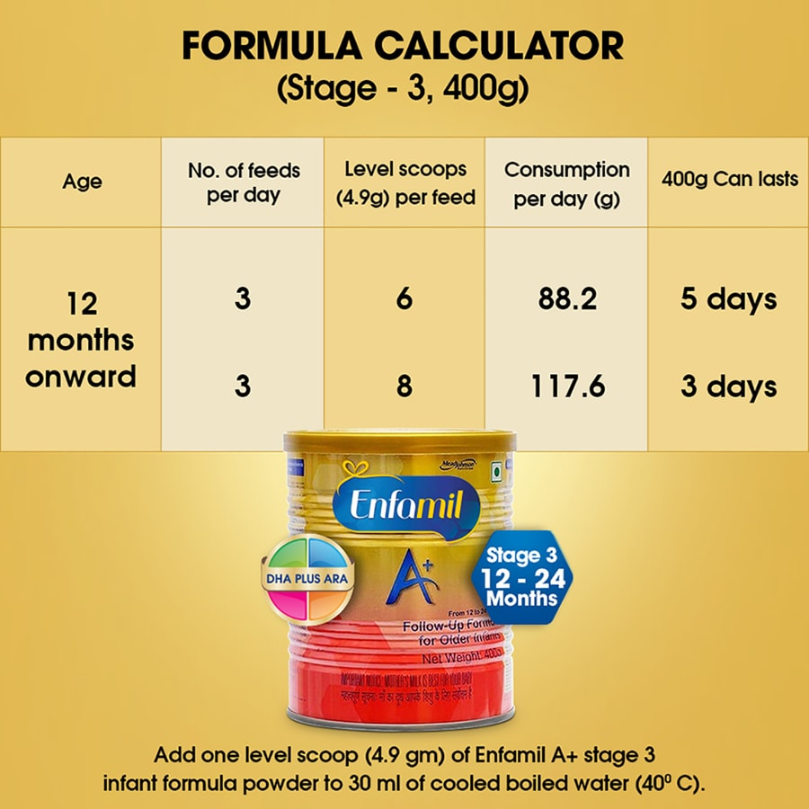 Enfamil A+ Stage 3: Infant Follow-up Formula (12 To 24 Months) - 400gm Tin