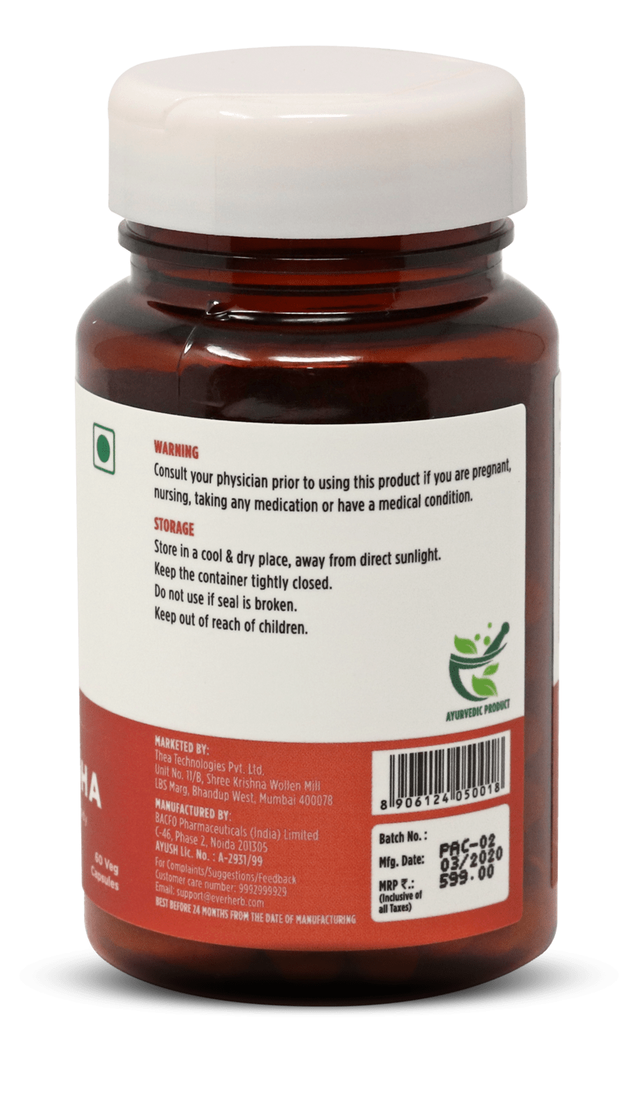Everherb Ashwagandha - Anxiety & Stress Relief, Improves Memory, Anti-ageing, Anti-oxidant - 60 Veg Capsules