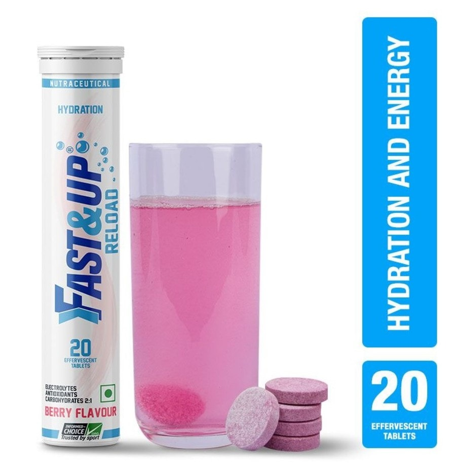 Fast&up Reload Electrolytes Sports Drink For Instant Energy & Hydration - 20 Effervescent Tablets - Berry Flavour