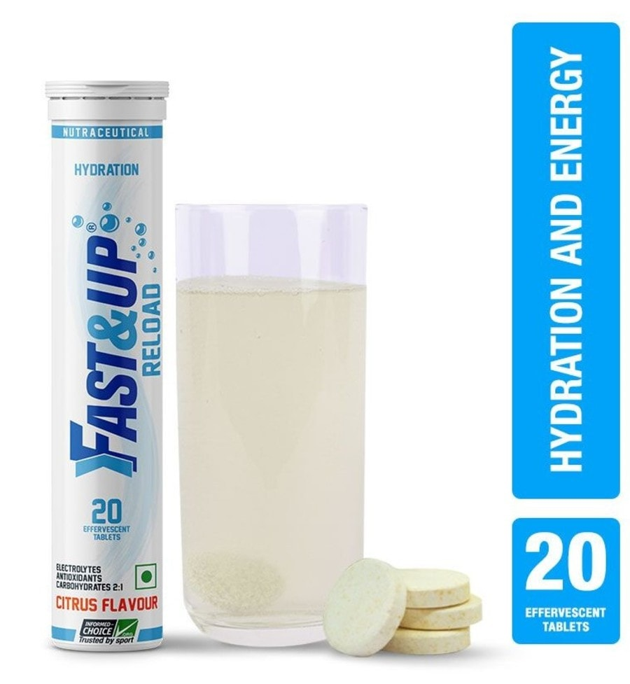Fast&up Reload Electrolytes Sports Drink For Instant Energy & Hydration - 20 Effervescent Tablets - Citrus Flavour