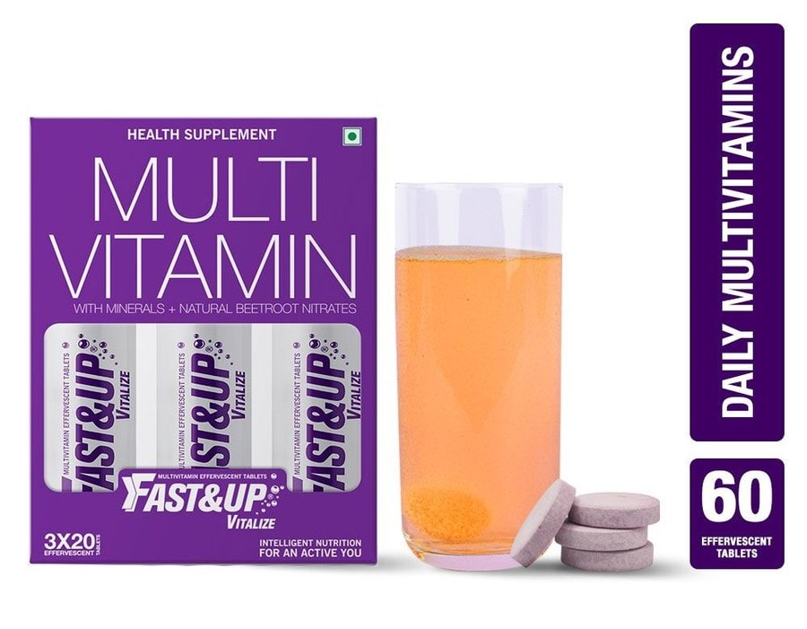 Fast&up Vitalize Daily Mutivitamin With Natural Beetroot Extract For Men And Women - 60 Effervescent Tablets - Orange Flavour