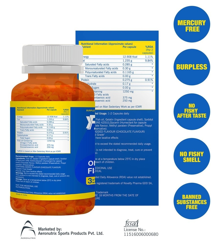 Fast&up Promega 1250 Mg Omega 3 Fish Oil Softgel Capsules With High Epa:dha - 60 Softgels - Chocolate Flavour
