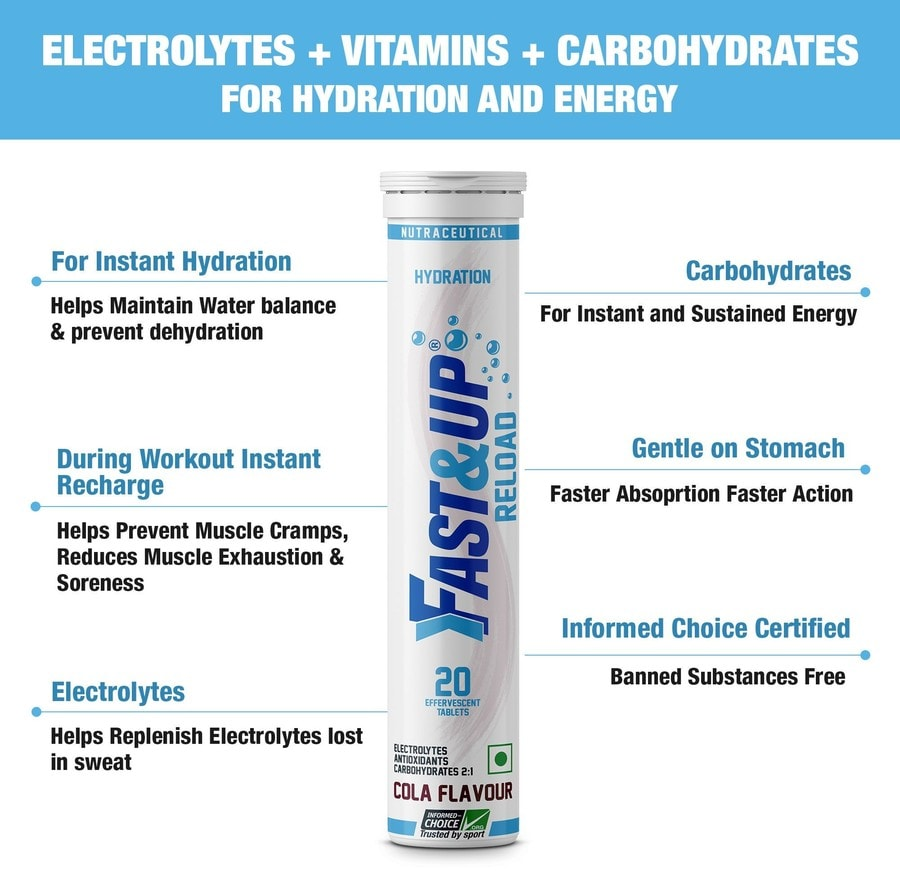 Fast&up Reload Electrolytes Sports Drink For Instant Energy & Hydration - 20 Effervescent Tablets - Cola Flavour