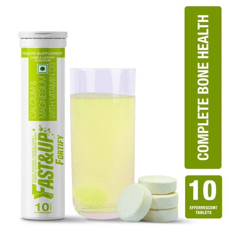 Fast&up Fortify Calcium & Vitamin D3 For Bone Health - 10 Effervescent Tablets - Lime&lemon Flavour