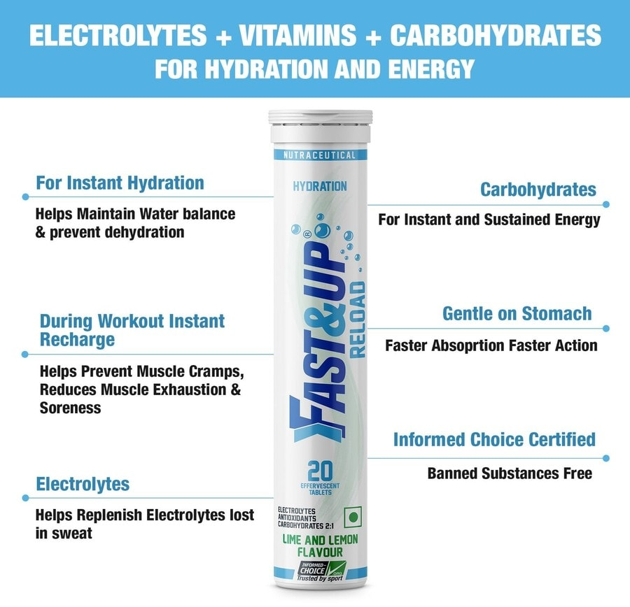 Fast&up Reload Electrolytes Sports Drink For Instant Energy & Hydration - 20 Effervescent Tablets - Lime&lemon Flavour