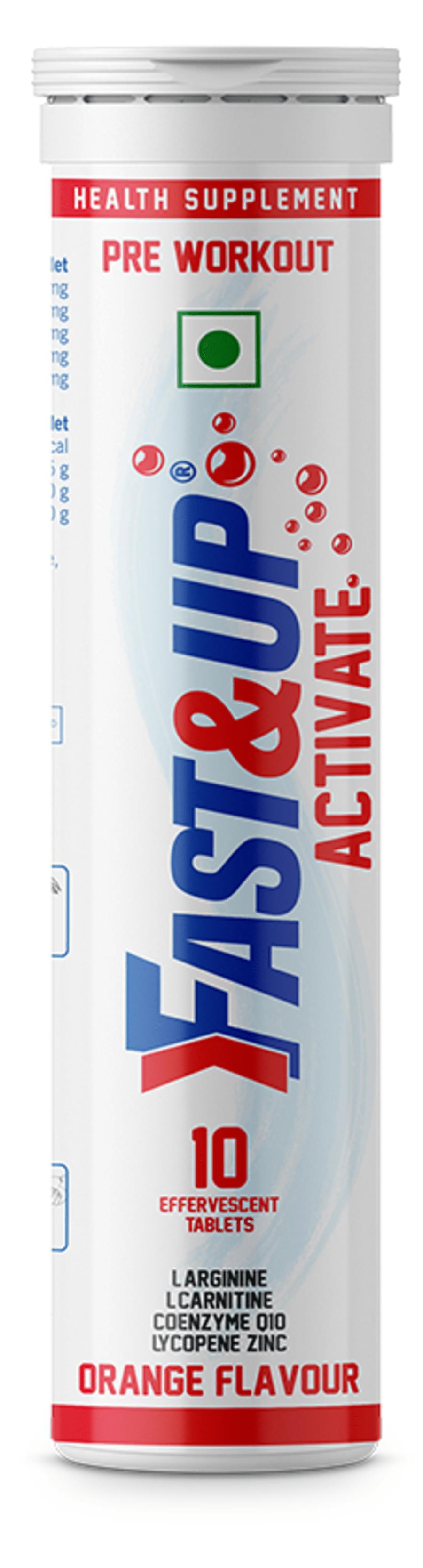 Fast&up Activate Pre Workout - 10 Effervescent Tablets - Orange Flavour
