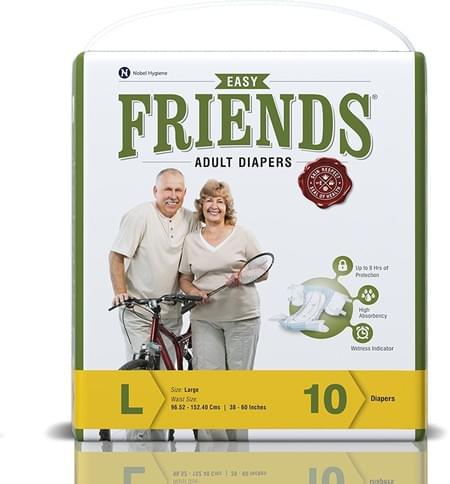 Friends Easy Adult Diapers Large Pack Of 10 (taped Diaper)