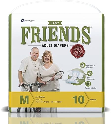 Friends Easy Adult Diapers Medium Pack Of 10 (taped Diaper)