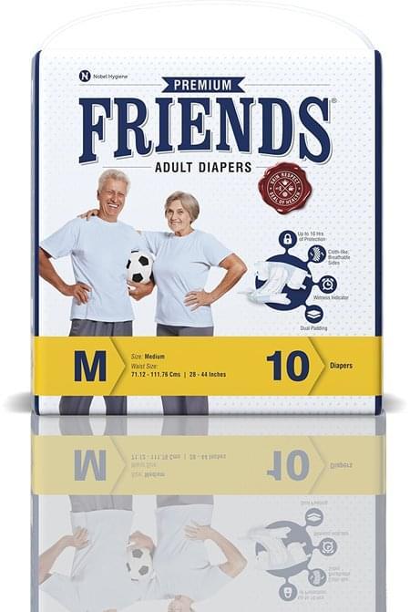 Friends Premium Adult Diapers Medium Pack Of 10 (taped Diaper)