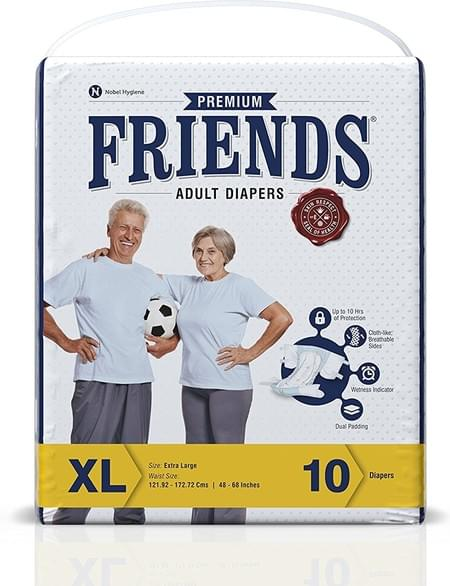 Friends Premium Adult Diapers Extra Large Pack Of 10 (taped Diaper)