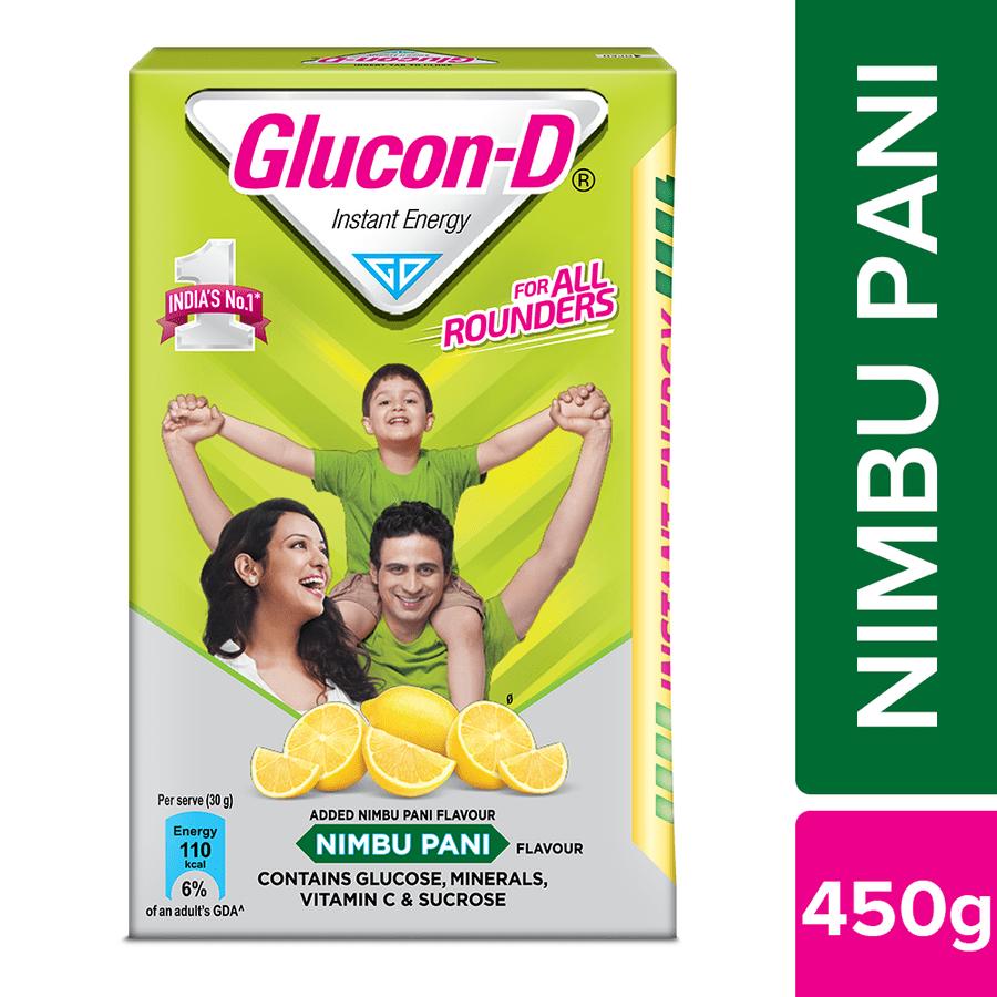 Glucon D: Nimbu Pani Flavoured Glucose Based Beverage Mix - 450 G Pack
