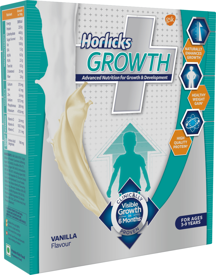 Horlicks Growth Plus – Health & Nutrition Drink (vanilla Flavor) 200gm Refill Pack