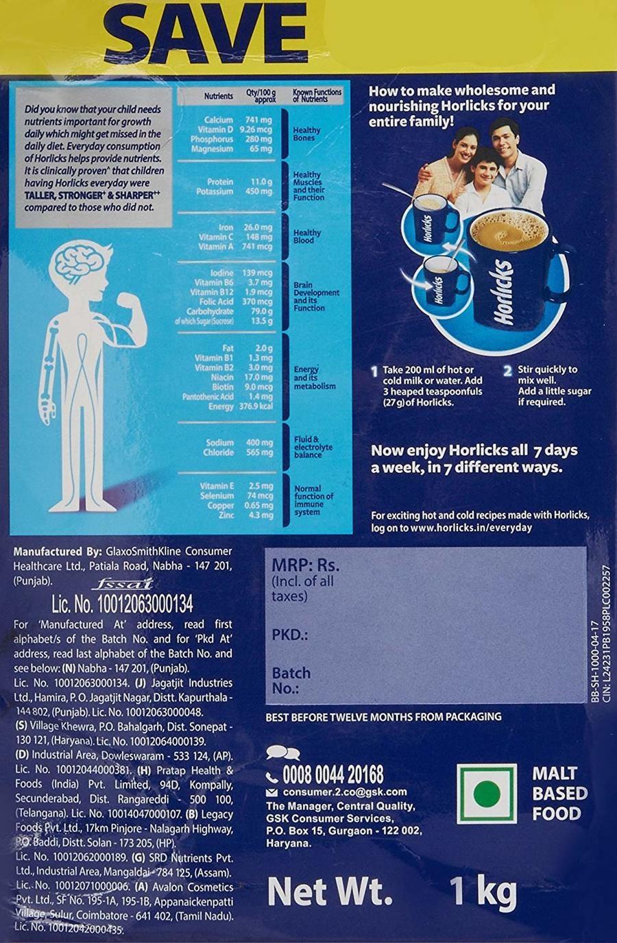Horlicks - Health & Nutrition Drink (classic Malt) 1kg Refill Pack