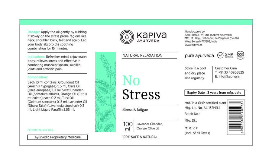 Kapiva No Stress Oil - 100 Ml - Stress Buster - 100% Natural