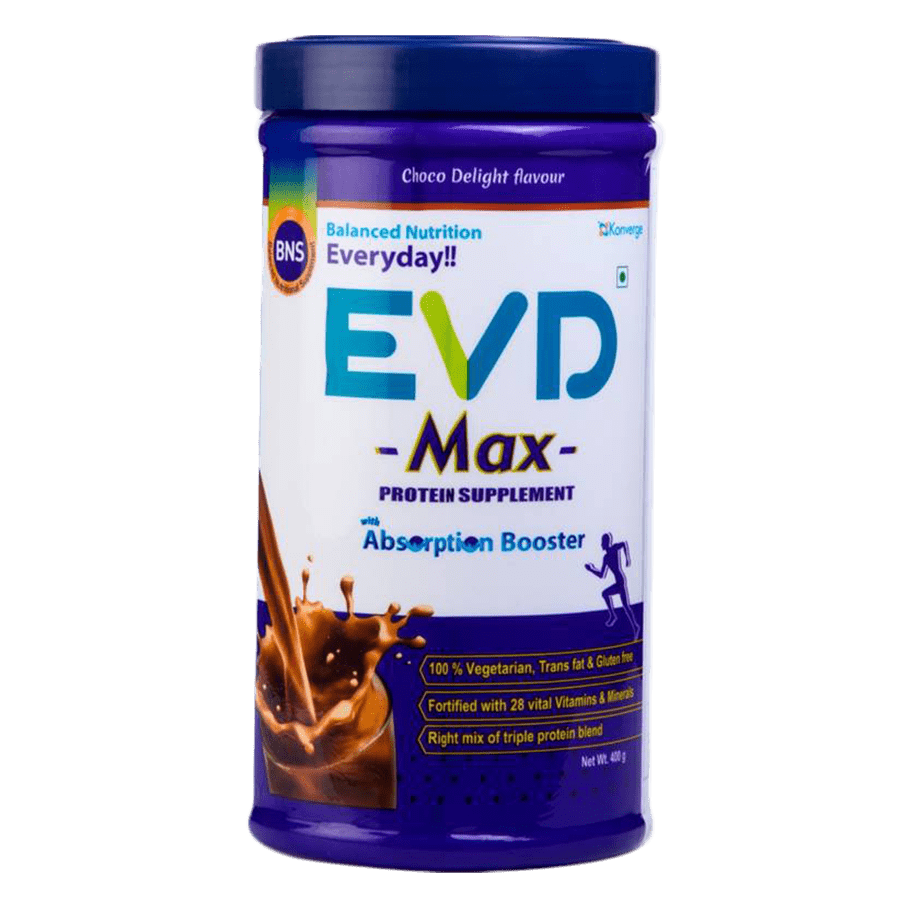 Evd Max-protein Supplement With Absorption Boosters Choco Delight Flavour - 400g Jar