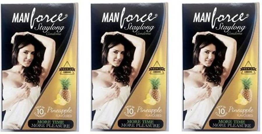 Manforce Staylong Pineapple Flavoured Condoms - Super Saver (3 X 10s)