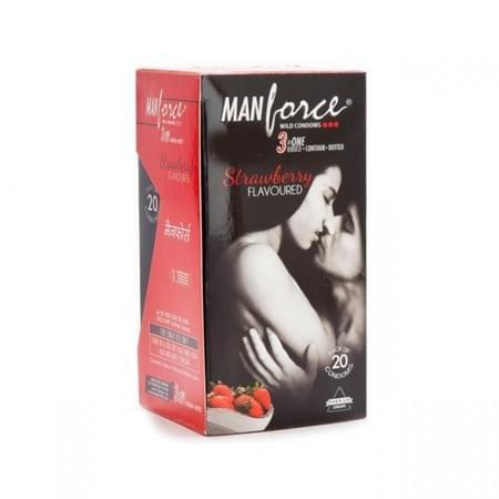 Manforce Wild Condoms Strawberry - Super Saver (2 X 20s)