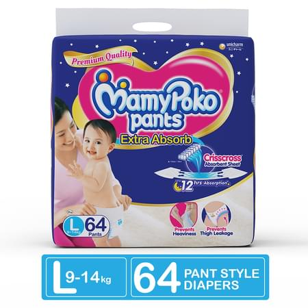 Mamypoko Pants Extra Absorb Diaper - Large Size, Pack Of 64 Diapers (l-64)