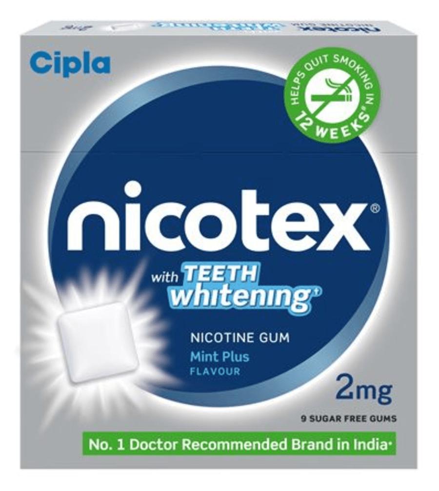 Nicotex Sugar Free Teeth Whitening 2mg Chew Gum 9's