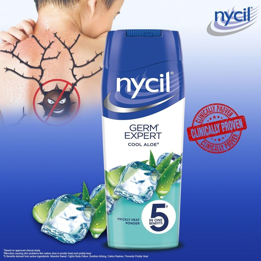Nycil Cool Aloe Prickly Heat Talcum Powder  Bottle Of 150 G