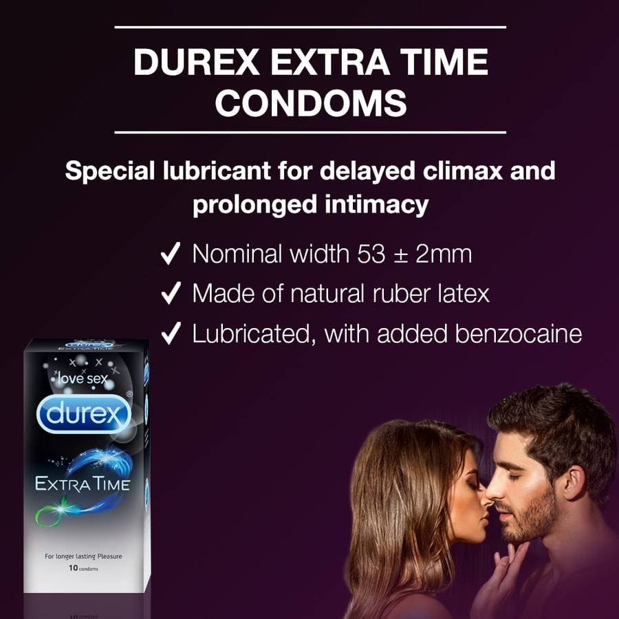 Durex Condoms, Extra Time- 10 Pieces