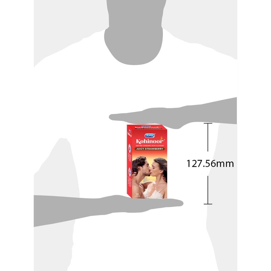 Durex Kohinoor Condoms, Juicy Strawberry- 10 Pieces