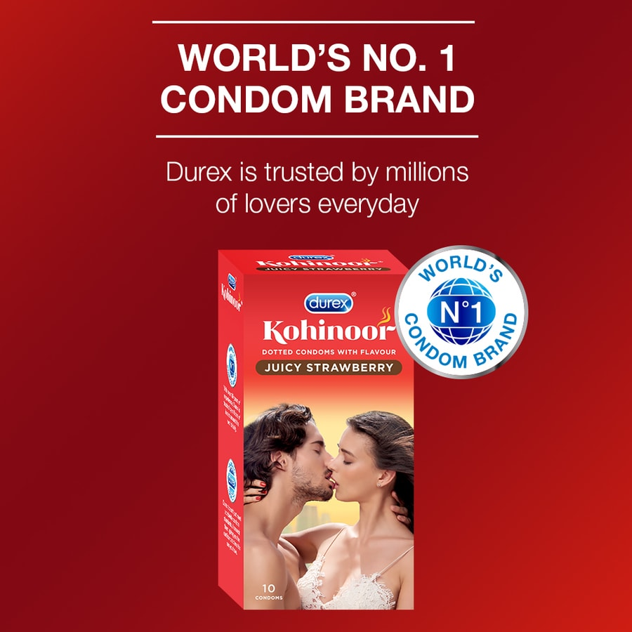 Durex Kohinoor Condoms, Juicy Strawberry- 10 Pieces