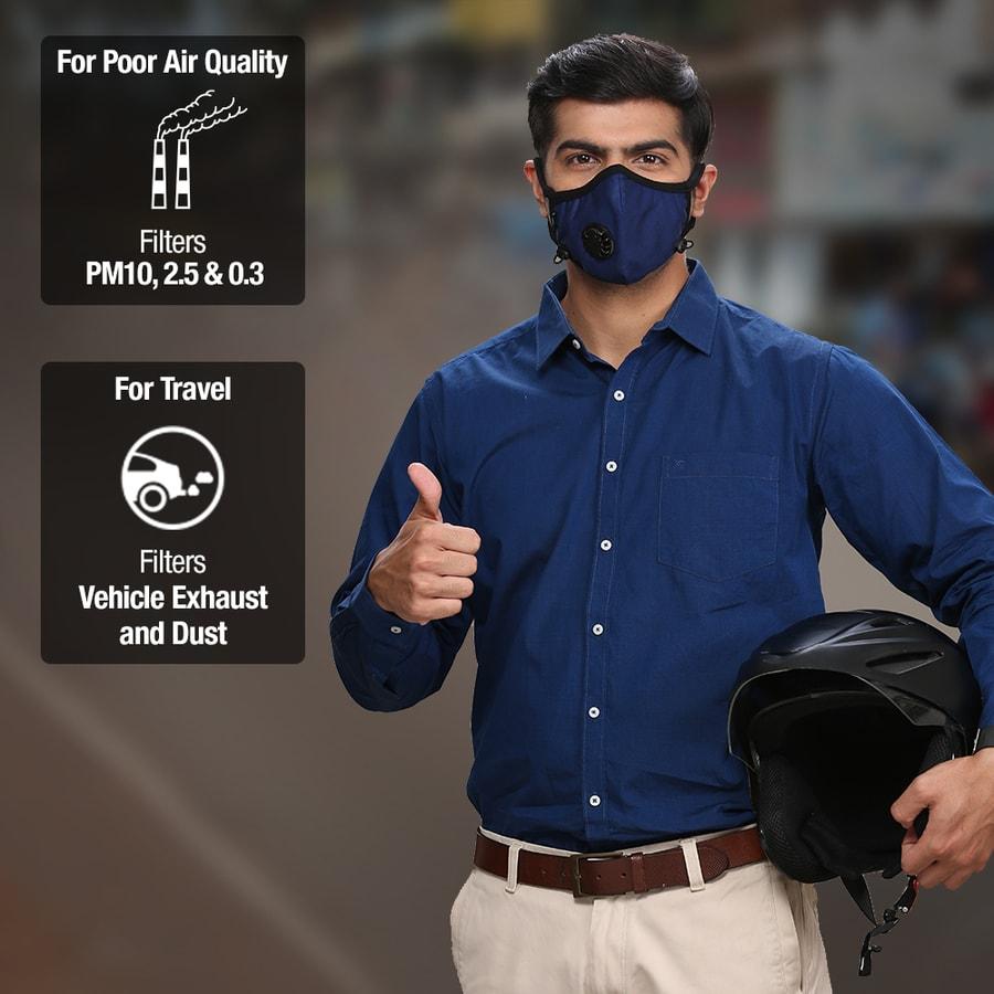 Dettol Cambridge Basic N95 Anti-pollution Mask, Navy Blue - Large