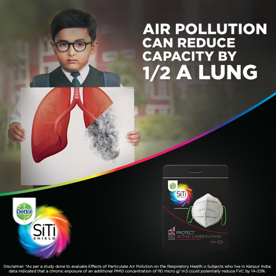 Dettol Siti Shield Carbon Activated Air-pollution Mask - (pack Of 3)