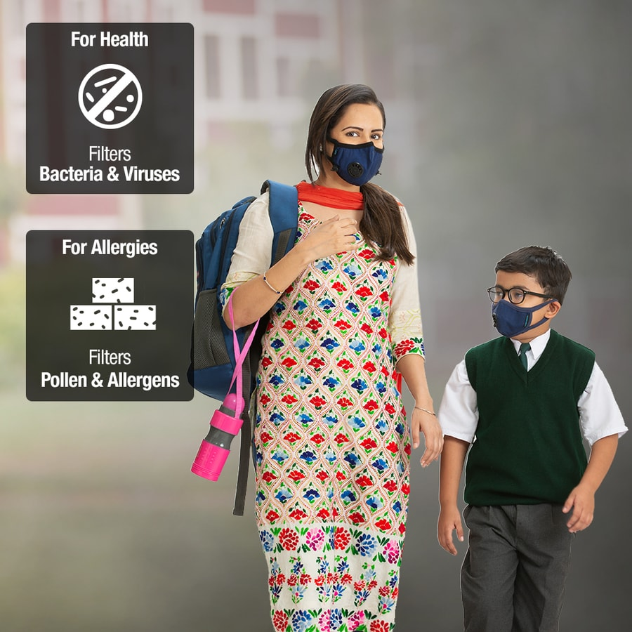 Dettol Cambridge Basic N95 Anti-pollution Mask, Navy Blue - Medium